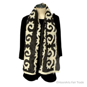 Kyrgyz Silk and Felted Scarf/Shawl, White on Black Tribal Patterns