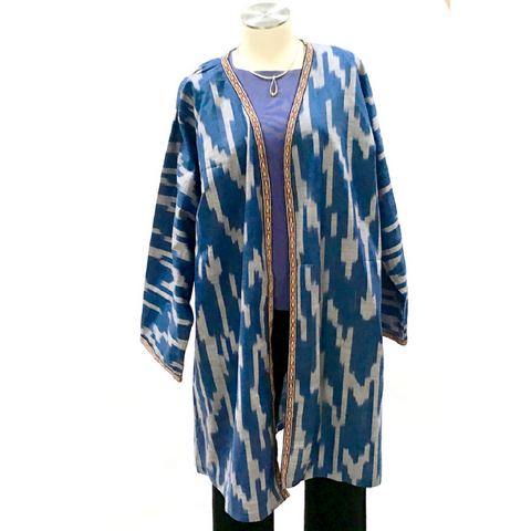 "Long Cotton Ikat Jacket (""Chapon"" Style)-Blue"