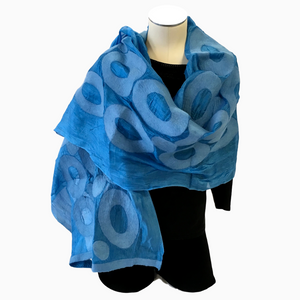 Kyrgyz Hand-felted Silk Scarf/Shawl, Solid Blue Circles Pattern