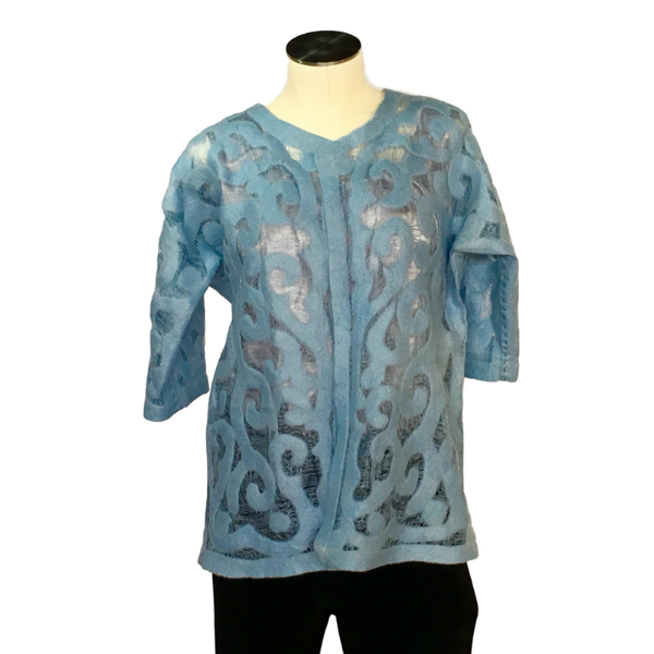 Blue Felted Silk Jacket from Kyrgyzstan