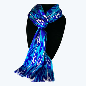 Uzbek ikat scarf-blue & turquoise (cotton and silk blend) | HoonArts