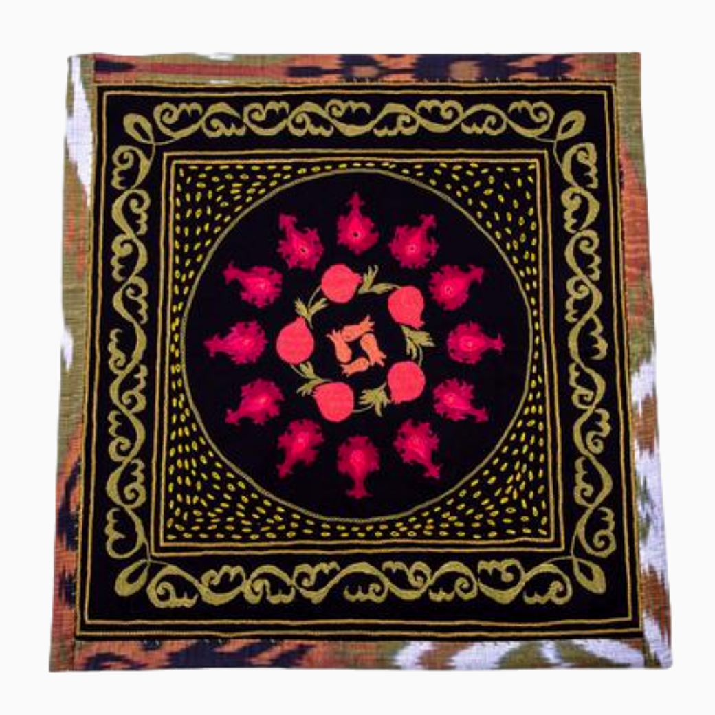 "Suzani Hand Embroidered Decorative Tapestry ""Anor"" (Pomegranate) Black Green and Red Fair Trade"