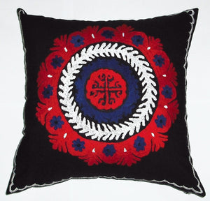 "Hand Embroidered Suzani Pillow Cover ""Ambassador"" - HoonArts - 2"