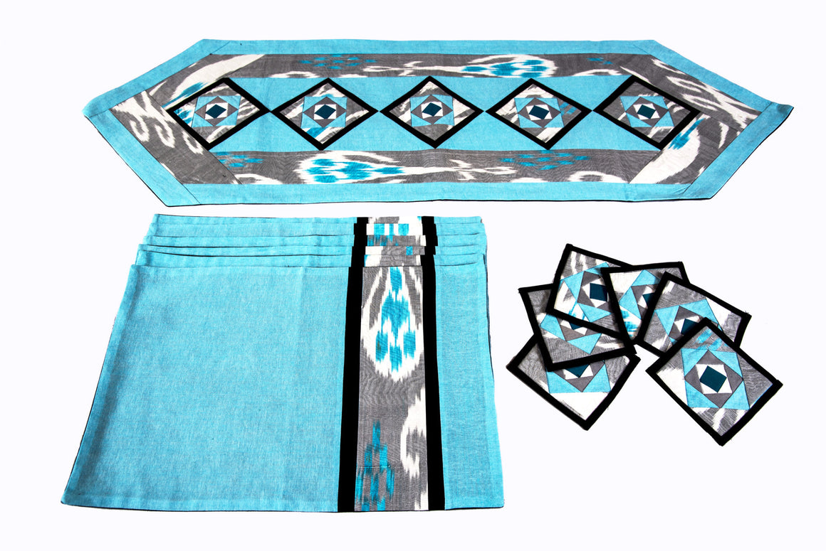 Ikat Quilted Table Runner Set w mats & Coasters  Turquoise White Gray - HoonArts - 1