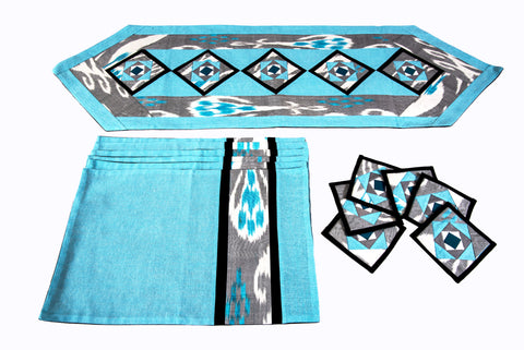 Ikat Quilted Table Runner Set w mats & Coasters  Turquoise White Gray