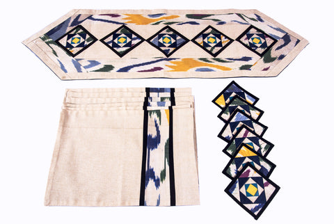 Ikat Hand Quilted Table Runner Set w mats & Coasters Cream, Blue, Green, Gold
