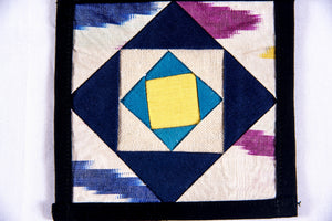 Ikat Hand Quilted Table Runner Set w mats & Coasters Cream, Blue, Green, Gold - HoonArts - 3