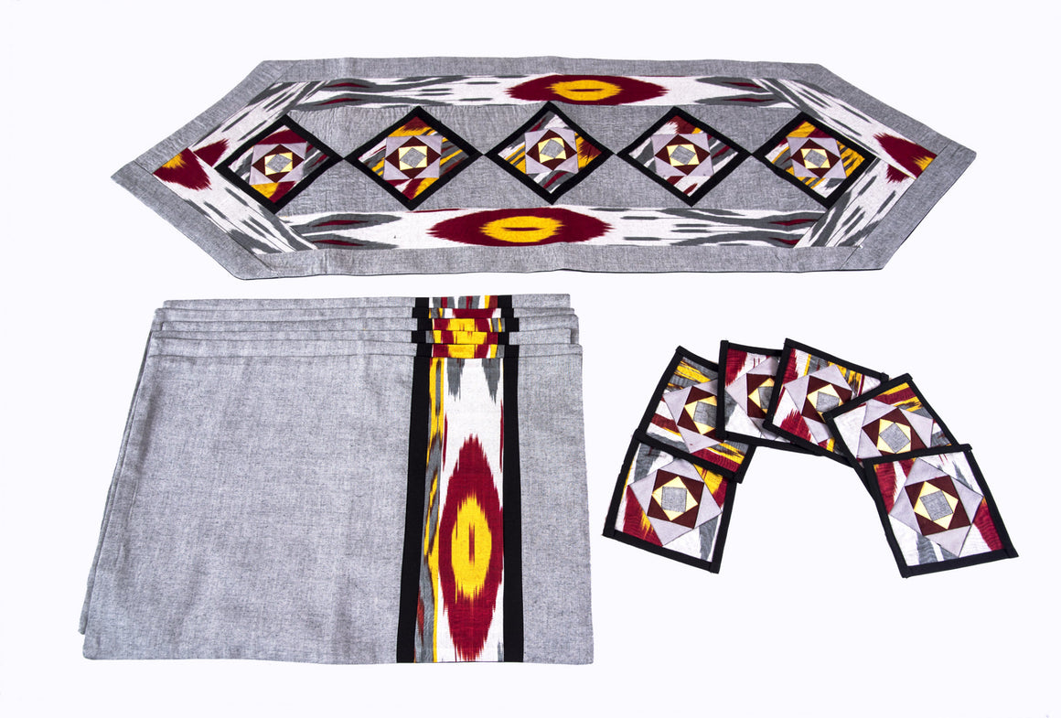 Ikat Hand Quilted Table Runner Set w mats & Coasters Gray, Red, Gold, Black - HoonArts - 1