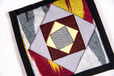 Ikat Hand Quilted Table Runner Set w mats & Coasters Gray, Red, Gold, Black - HoonArts - 3