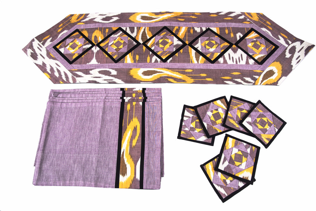 Ikat Hand Quilted Table Runner Set w mats & Coasters Lavender White Gold - HoonArts - 1