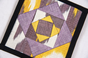 Ikat Hand Quilted Table Runner Set w mats & Coasters Lavender White Gold - HoonArts - 3