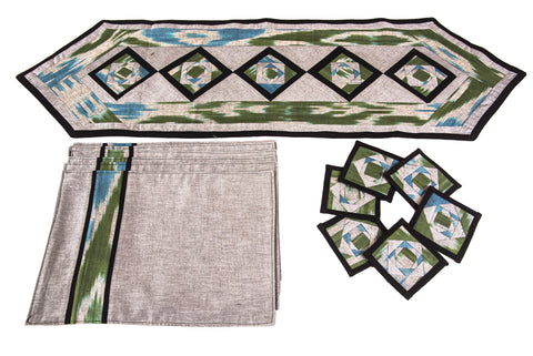 Ikat Hand Quilted Table Runner Set with Placemats Coasters Blue Green Gray Black