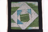 Ikat Hand Quilted Table Runner Set with Placemats Coasters Blue Green Gray Black - HoonArts - 3