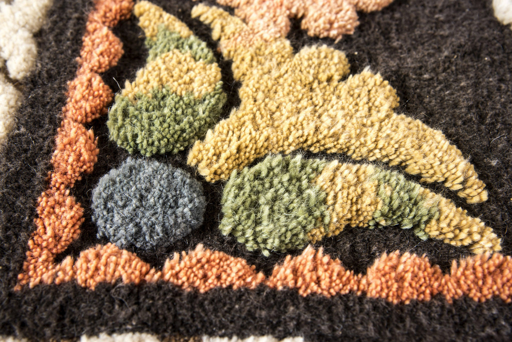 Hand Knotted Mohair Area Rug Vegetable Dyes Cream Black Yellow   HoonArts    3