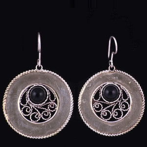 Sterling Silver Filigree Earrings Round Dangle Handmade w Stone (Various Stones) - HoonArts - 1
