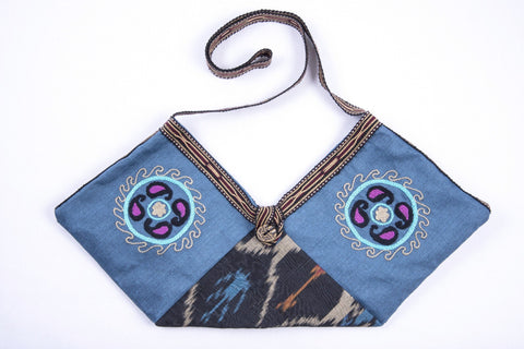Ikat and Suzani-Style Hand-Embroidered Blue Handbag