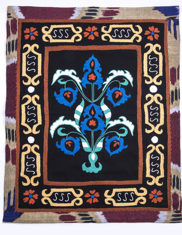"Mini Suzani Hand Embroidered Decorative Tapestry ""Butta"" (Bush) Black, Blue, Gold, Rust, White Fair Trade"