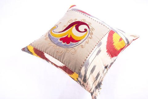 "Ikat & Suzani Pillow Cover, ""Qalanfur"" (Pepper)"