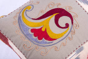 "Ikat & Suzani Pillow Cover, ""Qalanfur"" (Pepper) - HoonArts - 2"
