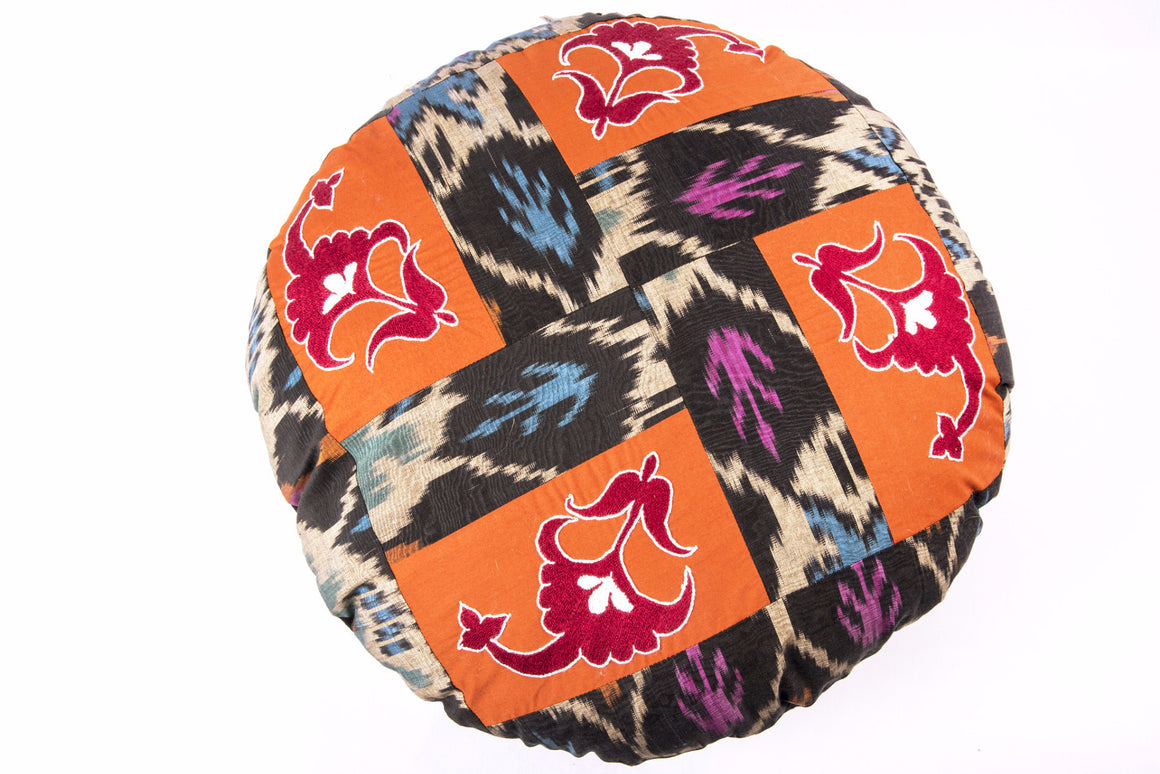 Round Suzani and Ikat Pillow Cover, Handmade - HoonArts - 1