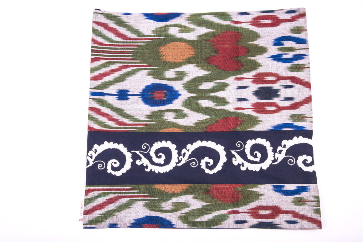 "Ikat and Suzani Embroidery Pillow Cover, ""Mavj"" (Ripple) - HoonArts - 1"