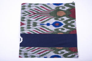 "Ikat and Suzani Embroidery Pillow Cover, ""Mavj"" (Ripple) - HoonArts - 2"