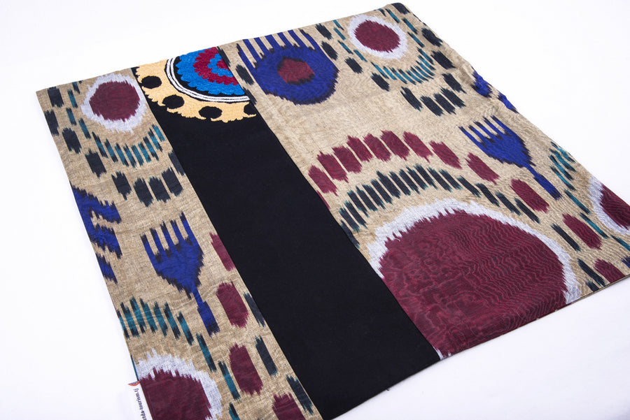 "Ikat & Suzani Pillow Cover, ""Mavj"" (Ripple) - HoonArts - 1"