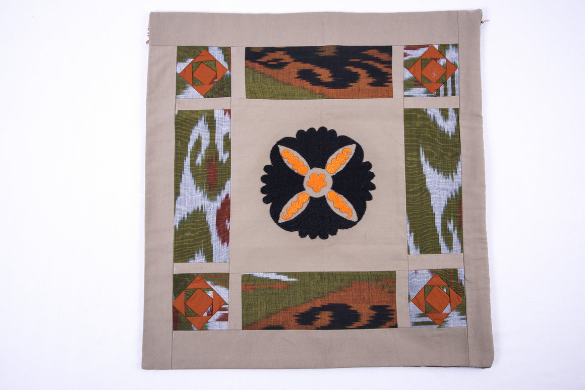 "Ikat and Suzani Embroidery Pillow Cover, ""Cosmos"" - HoonArts - 1"