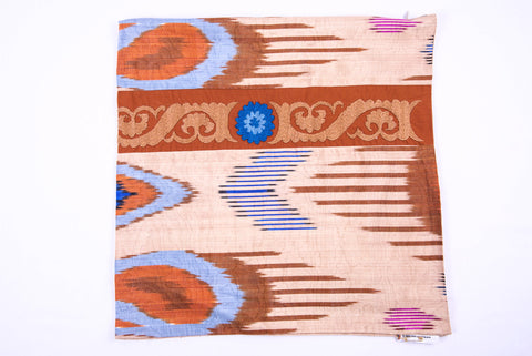 "Ikat and Suzani Embroidery Pillow Cover, ""Panjakenti"""