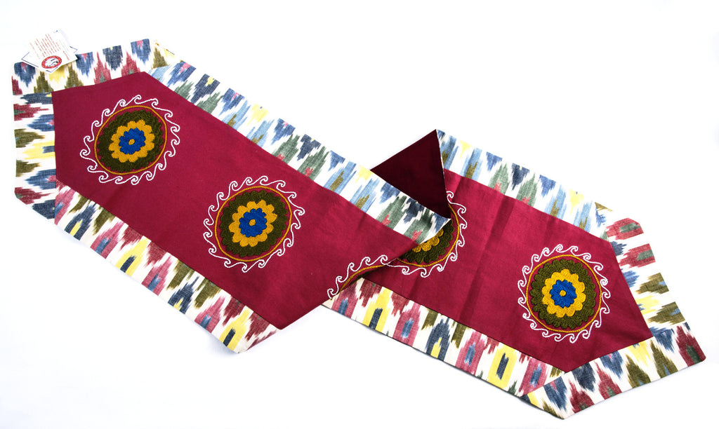 Ikat and Suzani Table Runner  Pink Blue Green Yellow White - HoonArts