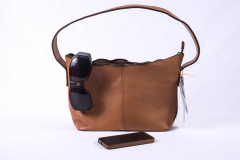 "Yak Leather Handbag ""Jamillah"" - Golden - Fair Trade"
