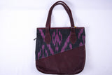 "Yak Leather and Ikat Totebag ""Ursula"" - Fair Trade - HoonArts - 2"