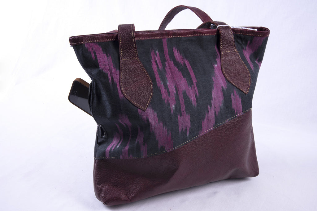 "Yak Leather and Ikat Totebag ""Ursula"" - Fair Trade - HoonArts - 1"