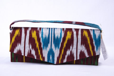 Ikat Clutch Handbag - Red, Blue, Yellow, Green, Silver