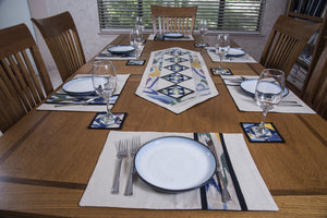 Ikat Hand Quilted Table Runner Set w mats & Coasters Cream, Blue, Green, Gold - HoonArts - 2