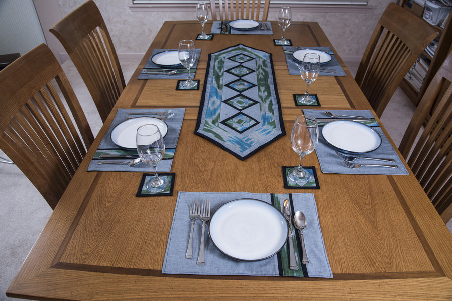 Ikat Hand Quilted Table Runner Set with Placemats Coasters Blue Green Gray Black - HoonArts - 1