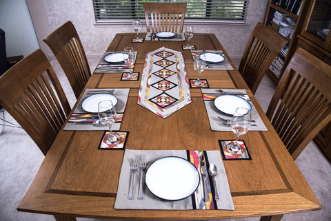 Ikat Hand Quilted Table Runner Set w mats \u0026 Coasters Beige Red Gold Black & Ikat and Suzani Table Runners \u0026 Table Sets \u2013 HoonArts