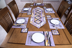 Ikat Hand Quilted Table Runner Set w mats & Coasters Lavender White Gold - HoonArts - 2