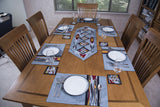 Ikat Hand Quilted Table Runner Set w mats & Coasters Gray, Red, Gold, Black - HoonArts - 2