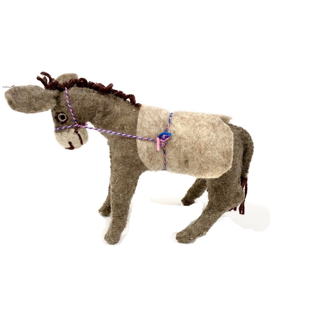 Felt Donkey - Stuffed Animal - Fair Trade - HoonArts - 1
