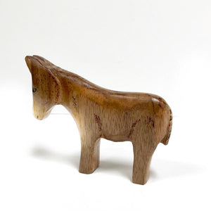Hand Carved Miniature Walnut Donkey