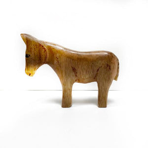 Hand Carved Miniature Wooden Donkey