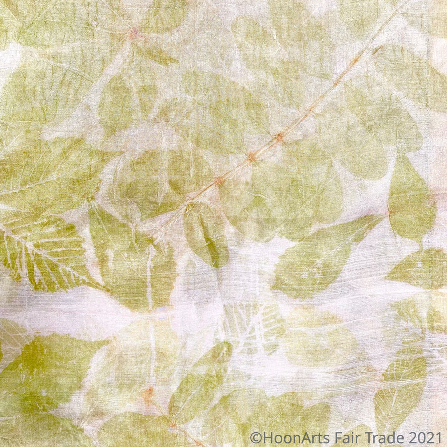Eco-Printed Silk Scarf-Green with Golden Tones - made in Kyrgyzstan