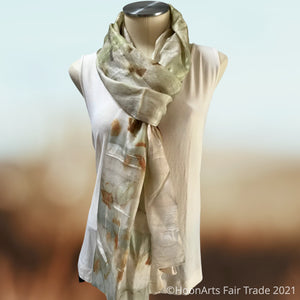 Eco-Printed Silk Scarf-Green with Rust Accents