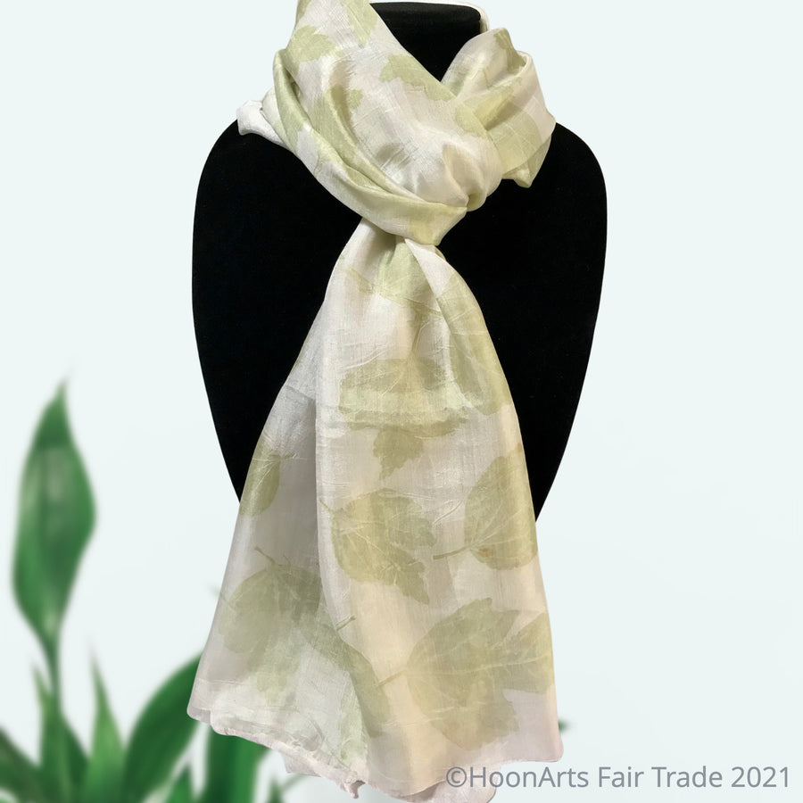 Eco-Printed Silk Scarf-Pale Green on White - handmade in Kyrgyzstan