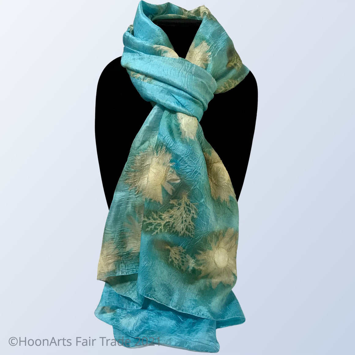 Eco-Printed Silk Scarf-Turquoise with Golden Sunflowers - made in Kyrgyzstan