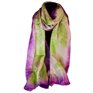 Handwoven Purple Eco-Printed Silk Scarf