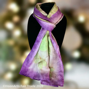 Handwoven and eco-printed silk scarf from Kyrgyzstan, with purple accents | HoonArts