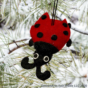 Red felt ladybug Christmas ornament, hanging from a snow-covered pine tree with long needles