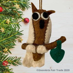 Felt Owl Christmas Ornament from Kyrgyzstan